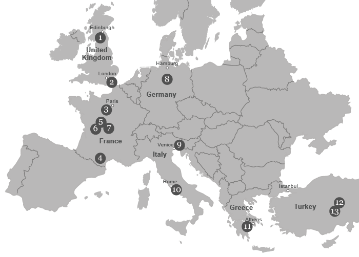 map of europe with sites visited by authors
